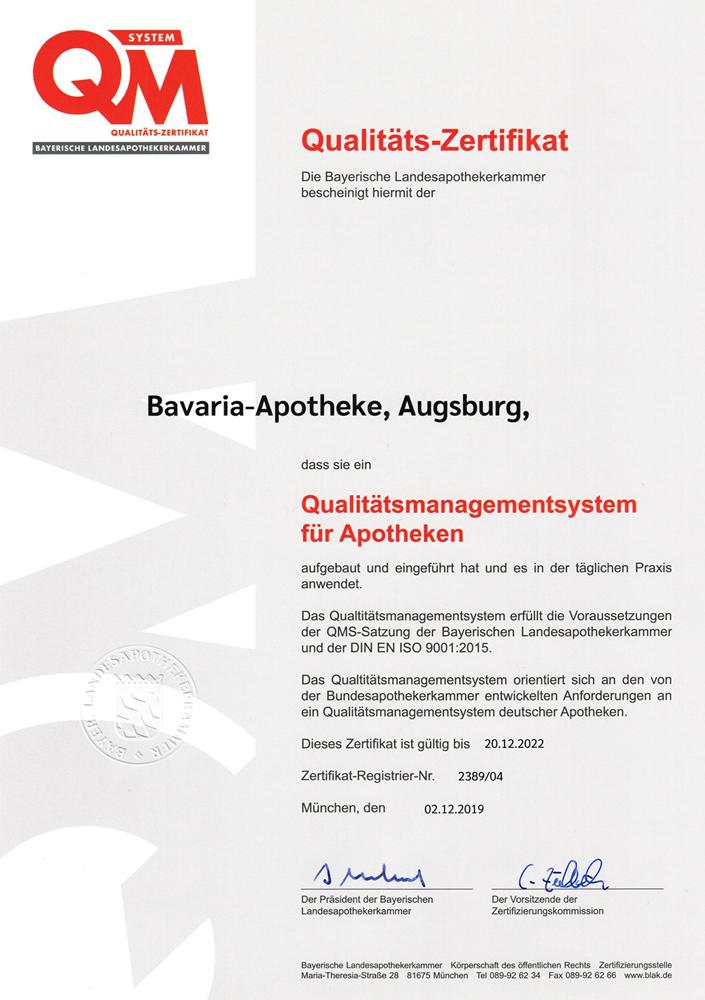 QMS Zertifikat Bavaria Apotheke Augsburg